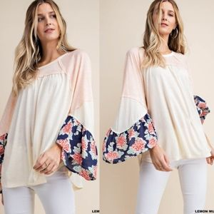 CAMILLE Floral Print Sleeve Top